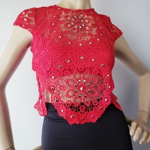 Banjul Red Lace Studded & Scalloped Top